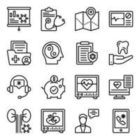 pacote de ícones lineares médicos e de saúde vetor