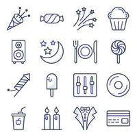 pacote de ícones lisos de acessórios de festa vetor