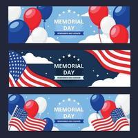 modelo de banner do dia do memorial dos EUA vetor