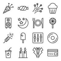 pacote de ícones lineares de acessórios de festa vetor