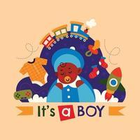 é um projeto de menino com brinquedos vetor