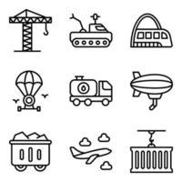 pacote de ícones lineares de transporte e automóvel vetor