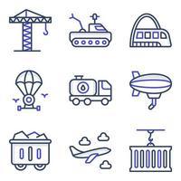 pacote de ícones planos de transporte e automóvel vetor