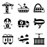 pacote de ícones sólidos de transporte e automóvel vetor