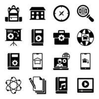 pacote de ícones sólidos de educação vetor