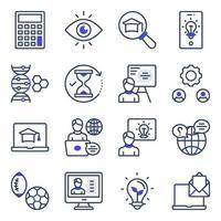 pacote de ícones lisos de aprendizagem vetor
