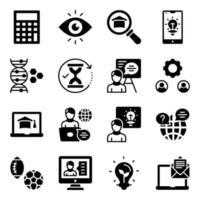 pacote de aprendizagem de ícones sólidos vetor