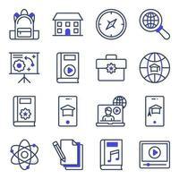 pacote de ícones planos educacionais vetor