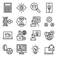 pacote de ícones lineares de aprendizagem vetor
