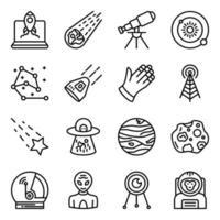 pacote de ícones lineares de astrologia vetor