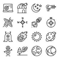 pacote de ícones lineares de espaço e astronomia vetor