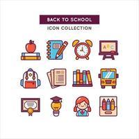objetos escolares usados para a educação vetor