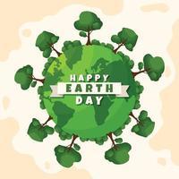 feliz dia da terra com conceito de floresta vetor