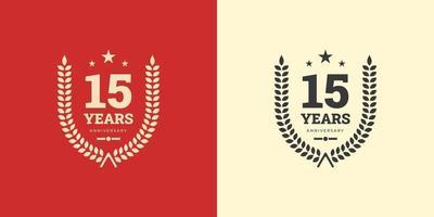 Comemoração do modelo de logotipo de aniversário de 15 anos com conceito clássico vintage. ilustração em vetor modelo design.