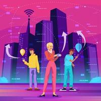 as pessoas se conectam em cidades inteligentes vetor