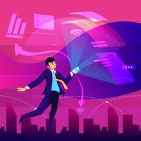 empreendedores flutuando na cidade do futuro conceito vetor
