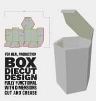 caixa hexagonal com corte de corte e trava de colisão na tampa de poeira vetor