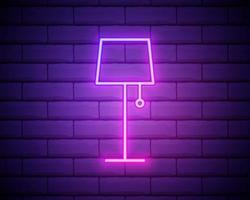 ícone de néon da lâmpada de assoalho. linha fina simples, vetor de contorno de ícones domésticos para interface do usuário e ux, site ou aplicativo móvel isolado em uma parede de tijolos
