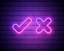 marca de seleção de néon e cruz na parede de tijolos. carrapato rosa e símbolo de declínio isolado na parede de tijolos. aceitar e rejeitar. certo e errado. design de néon brilhante para jogos, app, página da web. ilustração vetorial. vetor