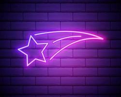 ícone de estrela cadente de néon brilhante isolado no fundo da parede de tijolo. estrela cadente com trilha de estrela. meteoróide, meteorito, cometa, asteróide, ícone de estrela. ilustração vetorial vetor