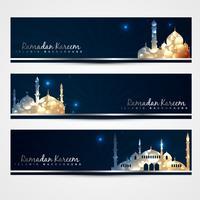 elegante conjunto de banners do Ramadã vetor