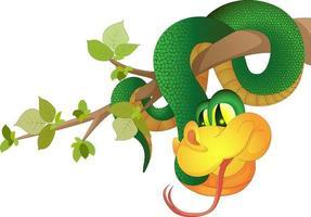 imagem vetorial de uma cobra verde pendurada em um galho de árvore feita em estilo cartoon, mas tendo um volume. vetor