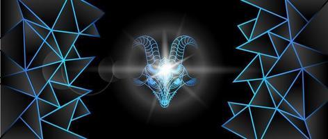 grande besta com chifres. bode. interpretação geométrica. imagem de fundo em tons de azul neon. vetor