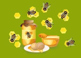 imagem vetorial de mel em uma jarra. apetitoso mel de âmbar fresco. e sanduíche fresco ou pão torrado. vetor