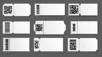 modelo de bilhete. cupom com conjunto de código de barras. cartões realistas vazios do vetor. bilhetes para rifa de teatro vetor