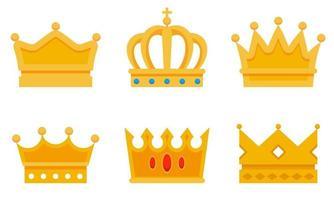 conjunto de diferentes coroas de ouro. vetor