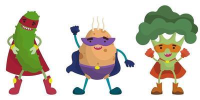 conjunto de vegetais de super-heróis. pepino, batata e brócolis em estilo cartoon. vetor