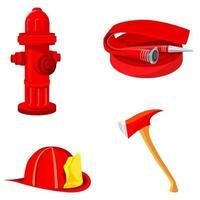 conjunto de equipamentos de incêndio. vetor