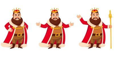 rei em diferentes poses. vetor