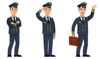 piloto de avião em diferentes poses. vetor
