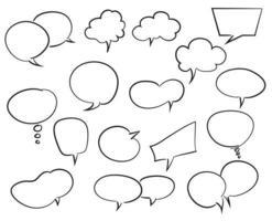 mão desenhada coleção bolha do discurso, desenho vetorial. vetor
