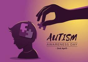 dia de conscientização do autismo com peças de quebra-cabeça em estilo simples vetor
