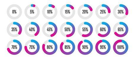 conjunto de diagramas de porcentagem do círculo de 0 a 100 vetor