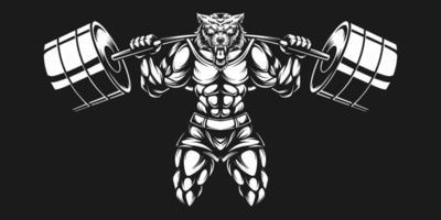 fisiculturista lobo com haltere preto e branco levantando vetor
