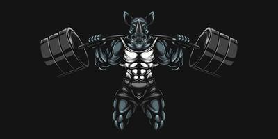 arte de fisiculturista rinoceronte levantando pesos pesados com barra vetor