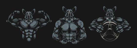 arte de bodybuilder de rinoceronte usando halteres vetor