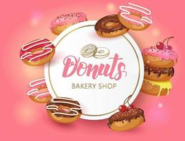 quadro de fundo doce vector com donuts vitrificados com cereja e pó. cartaz do deserto para menu e banners. design de comida