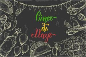 Cinco de mayo fundo festivo com símbolos de mão desenhada - pimenta, maracas, sombrero, nachos, tacos, burritos, tequila, balões, guirlanda de bandeira no preto. letras feitas à mão. vetor