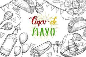 Cinco de mayo fundo festivo com símbolos de mão desenhada - pimenta, maracas, sombrero, nachos, tacos, burritos, tequila, balões isolados no branco. letras feitas à mão. vetor
