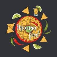 comida mexicana. mão desenhada nachos coloridos, pimenta, limão, jalapenos, tequila no estilo de desenho. letras feitas à mão. ilustração para designs de menu. vetor