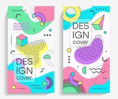 brochuras com elementos de design memphis vetor