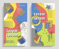 coleção colorida da moda em estilos memphis 80-90ss vetor