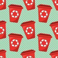 ilustração de padrão uniforme de lata de lixo vermelha vetor