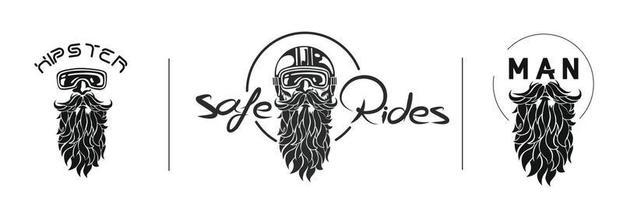 esboço do piloto hippie usando um capacete para logotipo de passeio seguro, ilustração vetorial. vetor