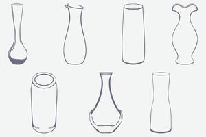 conjunto de vasos e garrafas de vidro vetor