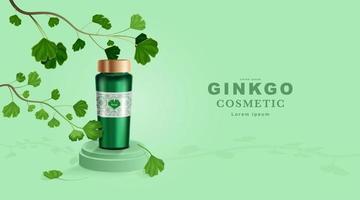 cosméticos ou produtos para a pele. maquete de garrafa e folhas de ginkgo com fundo verde. vetor